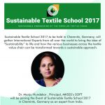 MKSSS's School Of Fashion Technology takes pride to announce its participation in the Grand event of Sustainable Textile School 2017 to be held in Chemnitz, Germany.